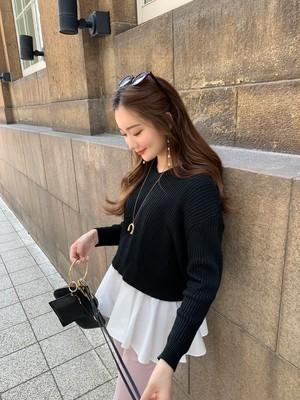 【予約】back ribbon layered knit / black 10/29 21:00 ~ 再販 (11月下旬発送予定)