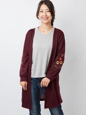 秋冬 袖刺繍カーディガン