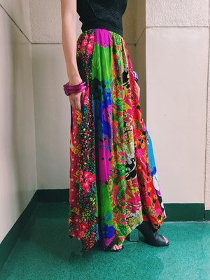 70s patchwork long skirt ( ヴィンテージ  パッチワーク ロング スカート )