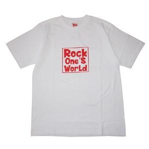 ROCK ONE'S WORLD ロックワンズワールド SQUARE LOGO TEE-WHITE-