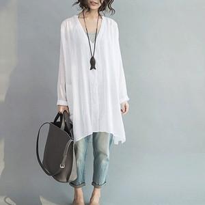 【トップス】シンプル長袖切り替えVネックシャツ14929867