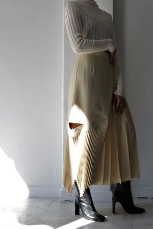 STAIR / WRAP PLEATED LONG SKIRT