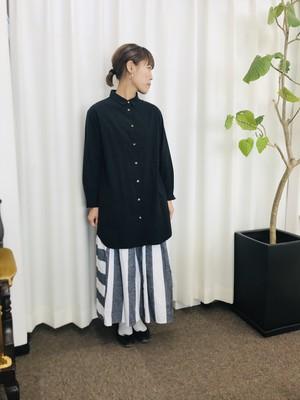 サンプルSALE キッズ150 遠州織物ネップミックスダンガリー シャツワンピース Black