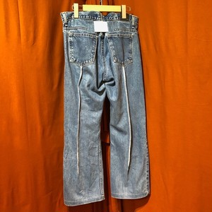 Back Rubber Line Denim Pants    Color : type E