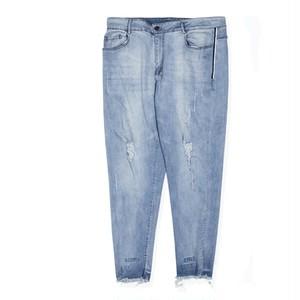 メンズ大きいサイズジーンズ。ロゴダメージカットオフデニムブルー