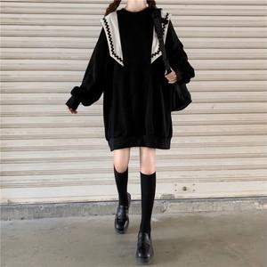レディース セーター JK風 セーラー服 ドロップショルダー 病み可愛い ゴスロリ系 可愛い オルチャン 原宿系 10代 20代