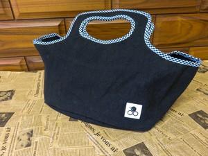 帆布コンビニバッグ 黒ベース 紺チェック DN72