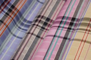 Atelier Kyoto Nishijin/撥水加工・西陣織シルク・がばっと開くアクセサリーポーチ・マルチチェック・スカイブルー・日本製