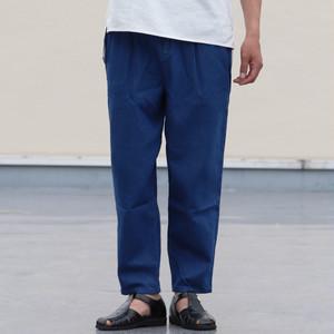 Linen Blended Denim Wide 2 Tuck Ankle Pants Blue Indigo