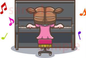 アップライトピアノをひく子供のイラスト素材