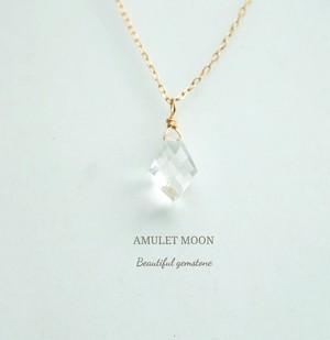 宝石質水晶 変形ひし形カット K18 チェーン ネックレス