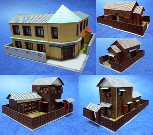 (ダウンロード版) ペーパークラフトで作る「昭和の建物4」5個セット(Nゲージ・サイズ)