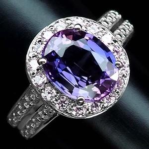 豪華な3.0ct! バイカラー サファイア リング 指輪 12号 アフリカ産 綺麗な紫と青の色合い!