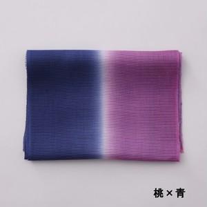 2021 かわせみ  帯揚  麻二色暈:桃 × 青