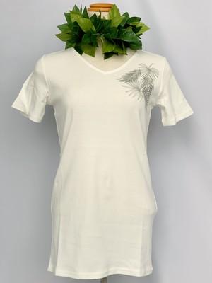 【Mauna loa/マウナロア/MMJ】ストレッチTシャツ 半袖 ホワイト フラ レッスン着に最適○