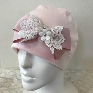 お花とレースのケア帽子 ピンク5