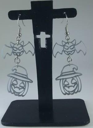 ハロウィン こうもり&帽子をかぶったかぼちゃ フレームタイプ ピアス&イヤリング