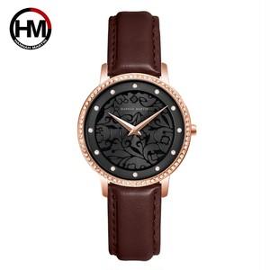 女性ラインストーン時計ファッションホワイトフラワー3D刻印文字盤日本Mov't防水トップ高級ブランドレディース時計1073P4