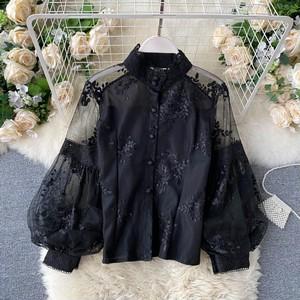 【トップス】華奢で可愛く フェミニン レトロ 花柄 刺繍 切り替え ブラウス40865358