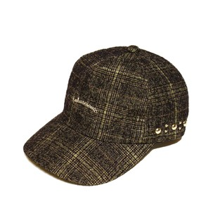 Enharmonic Studs Cap Wool Bright Boucle Check -khaki <LSD-AH3AC2>