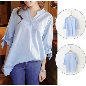 【ブルーストライプスキッパーシャツ】袖のリボンがかわいいシャツ