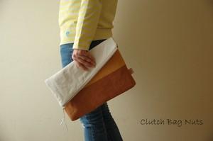 倉敷帆布*A4サイズの二つ折りクラッチバッグ<ナッツ(2018春夏モデル)>