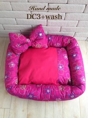 ピンクのお花柄リボン枕付きペットベッド