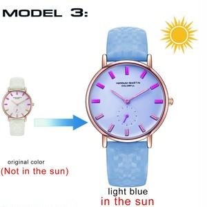新モデル クリエイティブウォッチ それは太陽の下で色を変えるファッション女性の腕時計UV防水カラフルな時計White to Light Blue