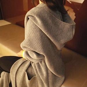 春秋レディースアウター ロング ニットカーディガン パーカー 無地 シンプル 着痩せ 韓国風カジュアル BHZ170921-019