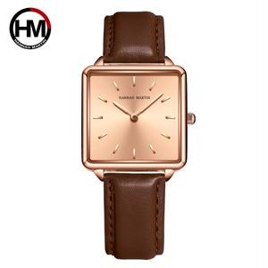 本革ストラップ日本クォーツムーブメントHM-108女性シンプルなデザインのトップの高級ブランド腕時計レディーススクエア腕時計108PZ3