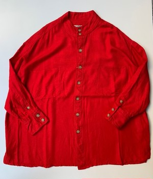 HOMELESS TAILOR STAND COLLAR SHIRT RED