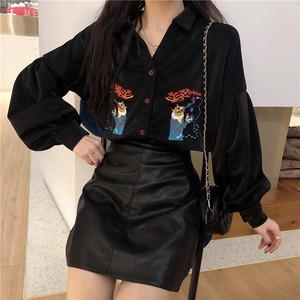 【トップス】韓国風ゆったりPOLOネック刺繡ランタンスリーブシャツ