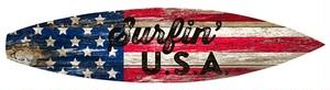 引続きセール主力商品20%OFF!   サーフボードサイン☆ウッドプラーク☆木製看板 (SURFING USA)