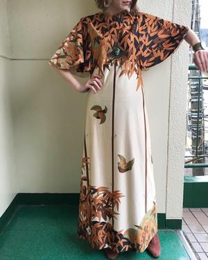 70s desiner's hawaiann maxi dress ( ヴィンテージ  デザイナーズ マキシワンピース )