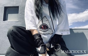 eye ring hoodie T-shirt / white