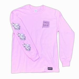 鳥&フラッグ 長袖Tシャツ ピンク