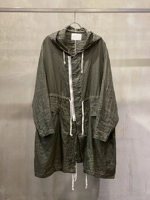 TrAnsference thin nylon snow camo parka - forest pigment dyed effect
