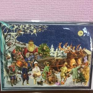 ドイツ アドヴェントカレンダー カード サンタクロースとトナカイ