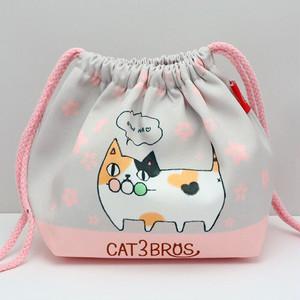 【猫3兄弟】保温保冷ランチ巾着(mike)【23046】