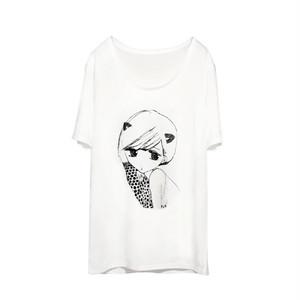 ウィメンズTシャツ 猫耳ちゃん ホワイト