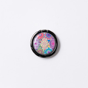 スマホリング・バンカーリング(ピンクモロッコタイル)ディスパージョンアート