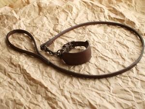 イタグレの革の首輪とリードのセット