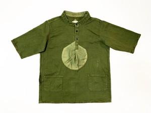19SS  硫化染め甘織り綿麻プルオーバーヘンリーネックシャツ / sulfide dyeing loose woven cotton linen pullover henley neck shirts