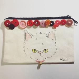 手描きポーチS(不機嫌な子猫 ヴィンテージボタン レッド3)