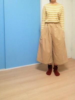 冬のガウチョ。コーデュロイのキュロットスカート ナチュラル服 大きいサイズ あったか 綿 裏ガーゼ ワイドパンツ