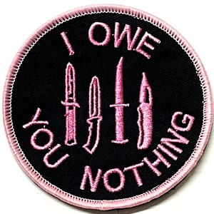 I OWE YOU NOTHING patch ワッペン パッチ