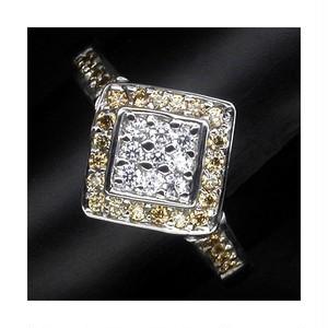 豪華な37粒! サファイア リング 指輪 12号 アフリカ産 綺麗なホワイト・シャンパンカラー!