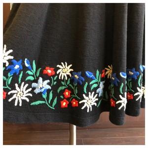 刺繍 ニット フレアスカート お花 ヴィンテージ