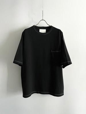 TrAnsference loose fit half sleeve pocket T-shirt - complete black garment dyed