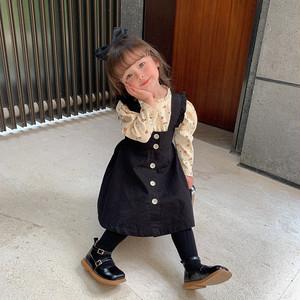 【即納】くすみカラー サスペンダー スカート ボタンデザイン 2色 韓国子供服 春夏 2021SS